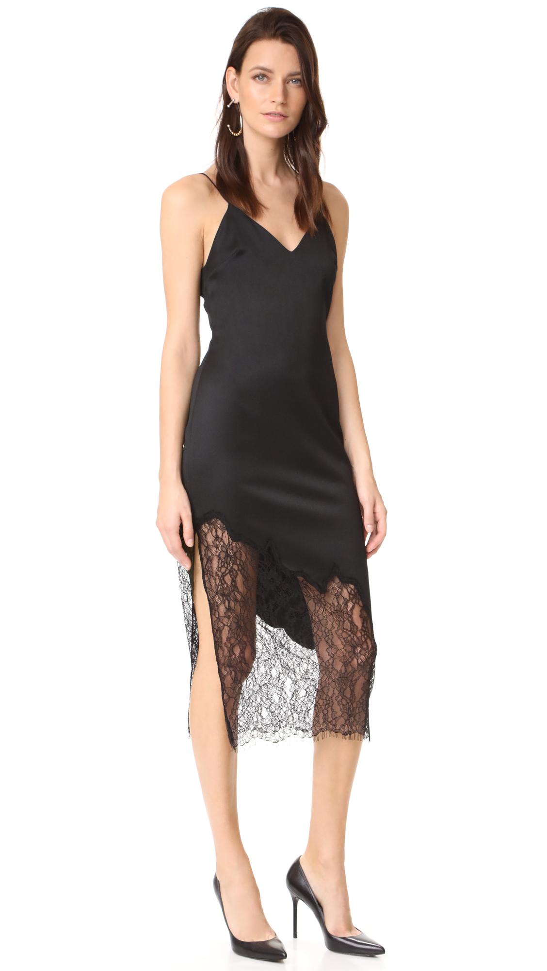 alice + olivia Evalee Side Slit Midi Slip Dress - Black