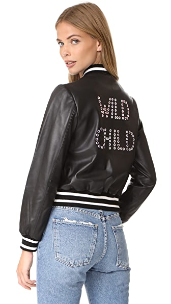 alice + olivia Demia Leather Bomber Jacket - Black