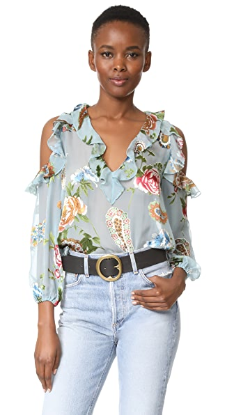 alice + olivia Gia Ruffle Cold Shoulder Blouse - Icy Aqua/Multi