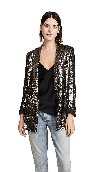 alice + olivia Jace Sequin Shawl Collar Oversized Blazer In Gunmetal