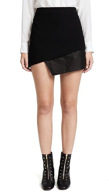 alice + olivia Dora Asymmetrical Leather Combo Miniskirt