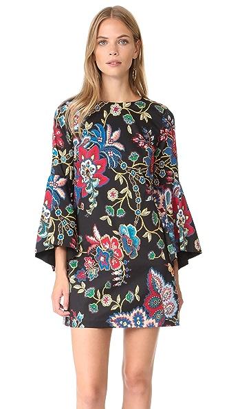 alice + olivia Thym Trumpet Sleeve Tunic Dress - Gloria Tapestry