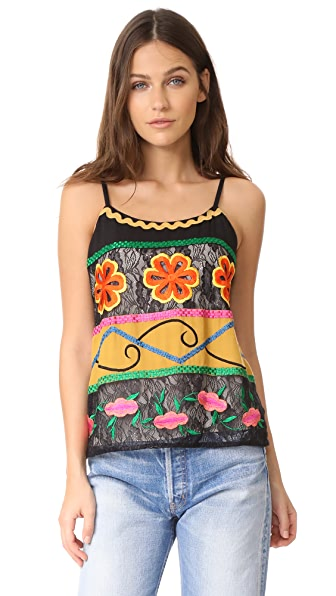 alice + olivia Moran Top - Black/Multi