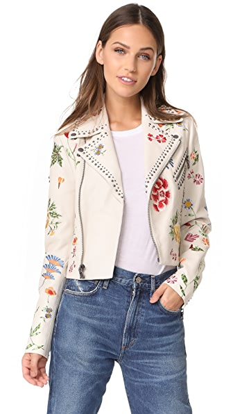 alice + olivia Cody Leather Jacket - Cream Multi