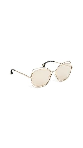 alice + olivia Collins Sunglasses In Shiny Soft Gold/Green