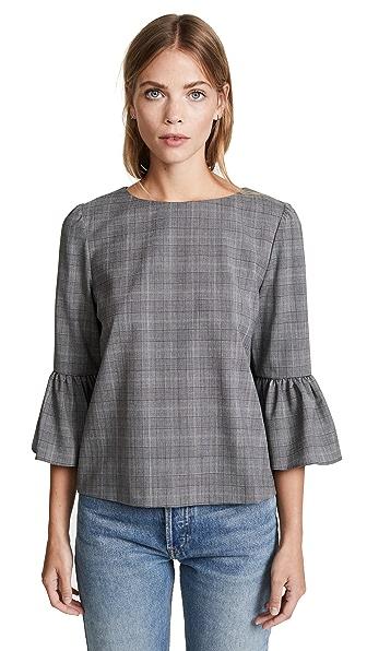 alice + olivia Bernice Ruffle Sleeve Top In Grey Multi