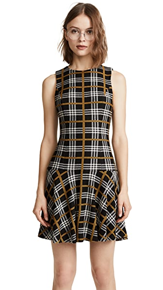 alice + olivia Fonda Drop Waist Dress In Black/White/Yellow