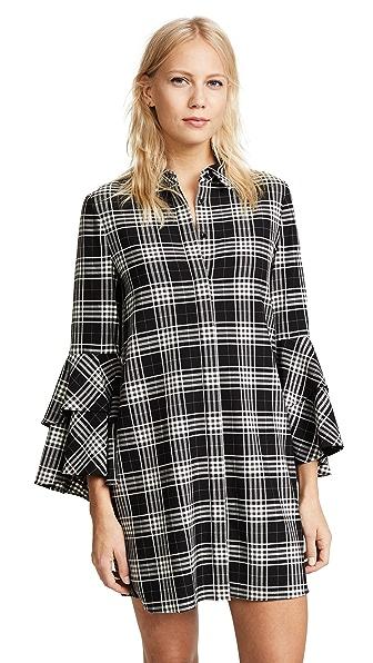 alice + olivia Jem Double Trumpet Sleeve Shirt Dress In Black/White