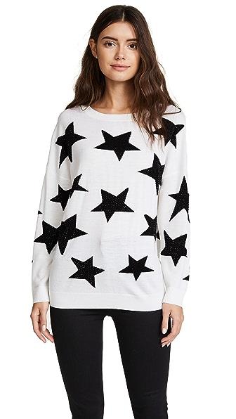 alice + olivia Bao Star Sweater In White/Black