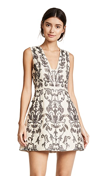alice + olivia Prescilla Embellished Dress In Black/Gunmetal