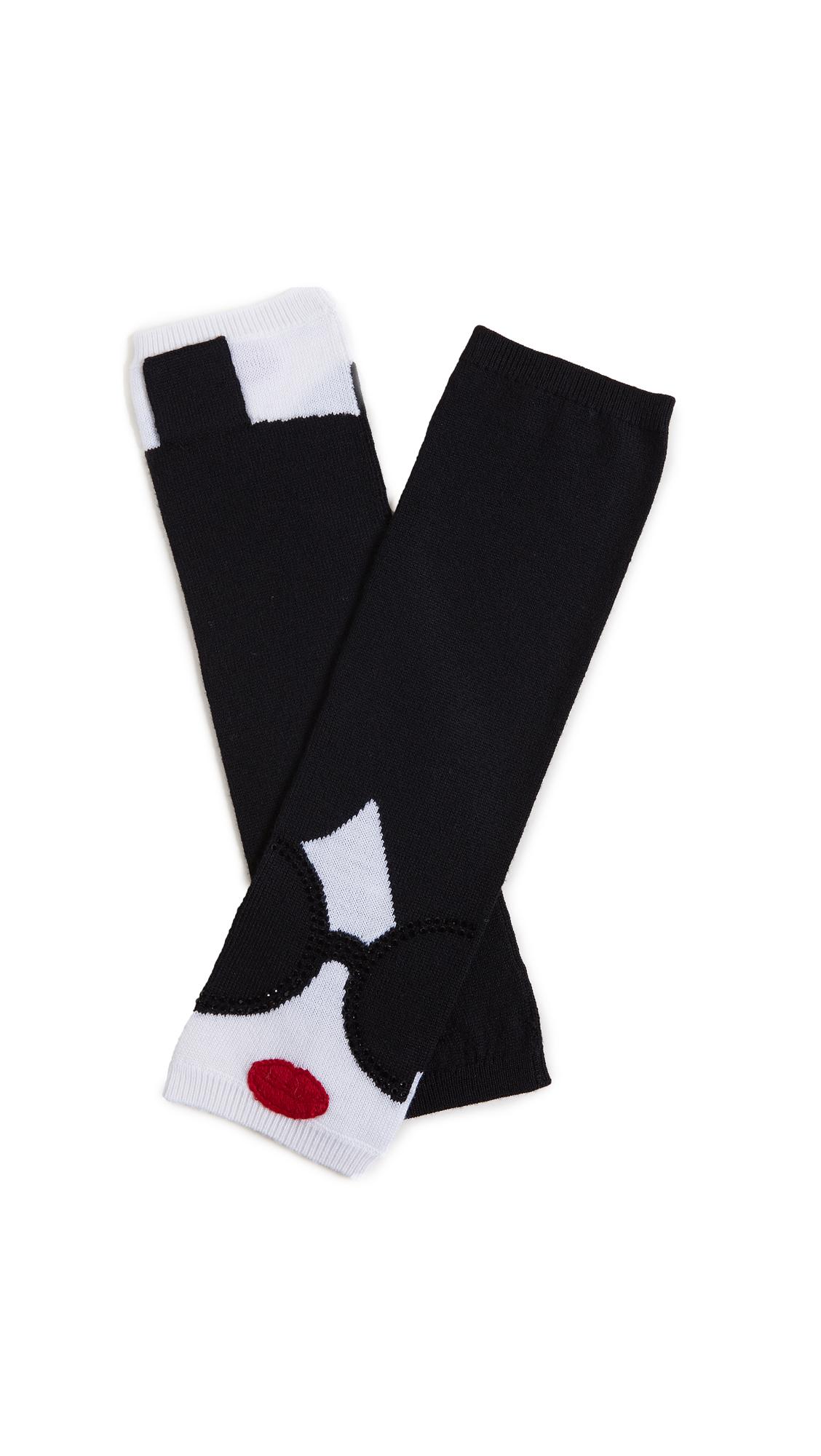 alice + olivia Stace Face Long Fingerless Gloves - Black/White