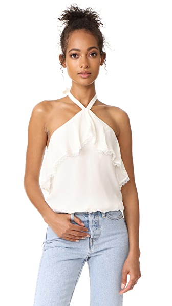 alice + olivia Monet Ruffled Halter Top - Cream