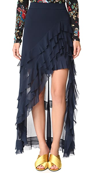 alice + olivia Lavera Asymmetrical Ruffle Skirt In Navy