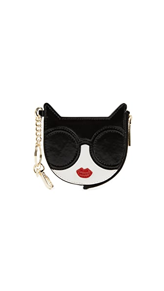 alice + olivia Stace Face Cat Zip Pouch Keychain In Multi