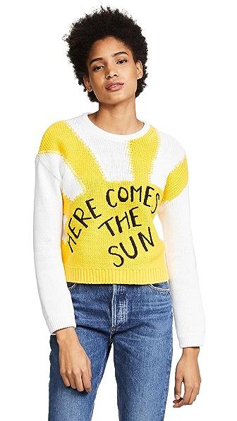 alice + olivia Leena Cropped Sweater In Optic White/Yellow