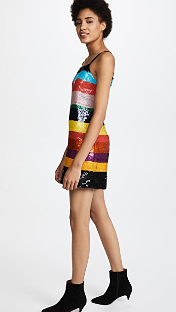 alice + olivia Bridget Striped Sequin Dress