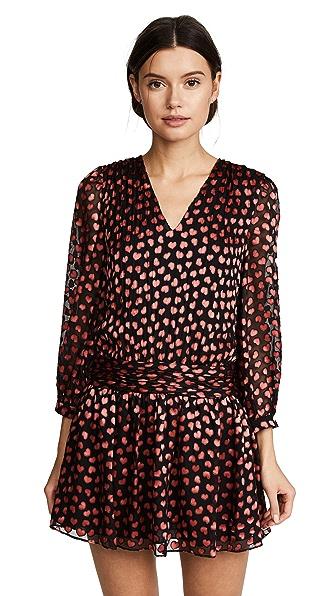 alice + olivia Tessie Drop Waist Dress In Mini Hearts/Black
