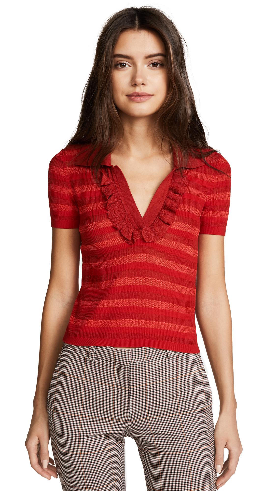 alice + olivia Martha Ruffle Polo Shirt - Poppy