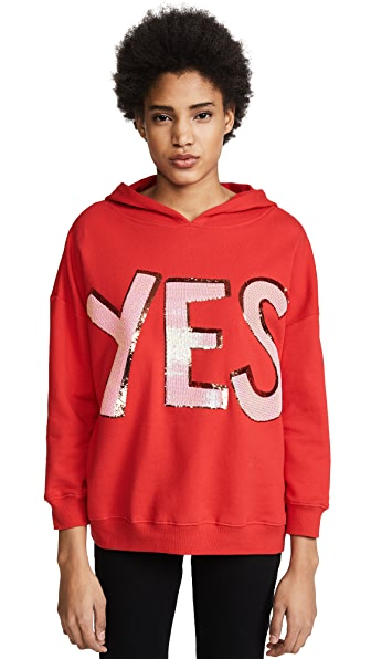 alice + olivia Vernie Exaggerated Pullover Hoodie In Poppy/Perfect Pink