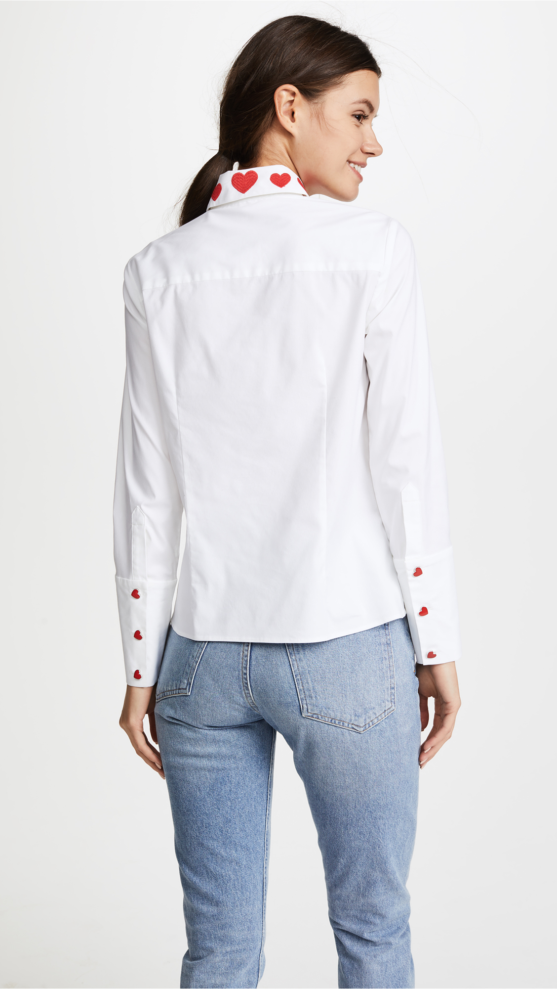 1e7b8d95 alice + olivia Darwin Embroidered Cropped Button Down Shirt   SHOPBOP