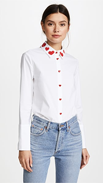 alice + olivia Darwin Embroidered Cropped Button Down Shirt In White/Deep Ruby