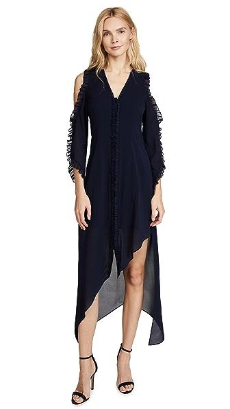 alice + olivia Claudie Ruffle Dress In Sapphire