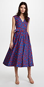 alice + olivia Dot Drop Shoulder Midi Dress