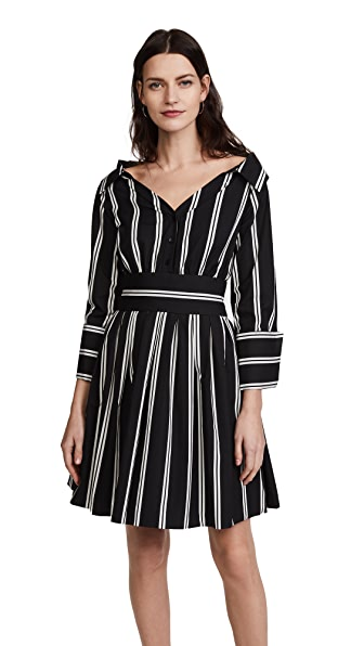 alice + olivia Iliana Party Dress In Mod Pinstripe