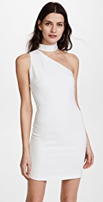alice + olivia Soshana Collar One Shoulder Dress