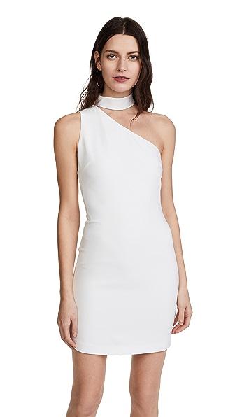 alice + olivia Soshana Collar One Shoulder Dress In Off White