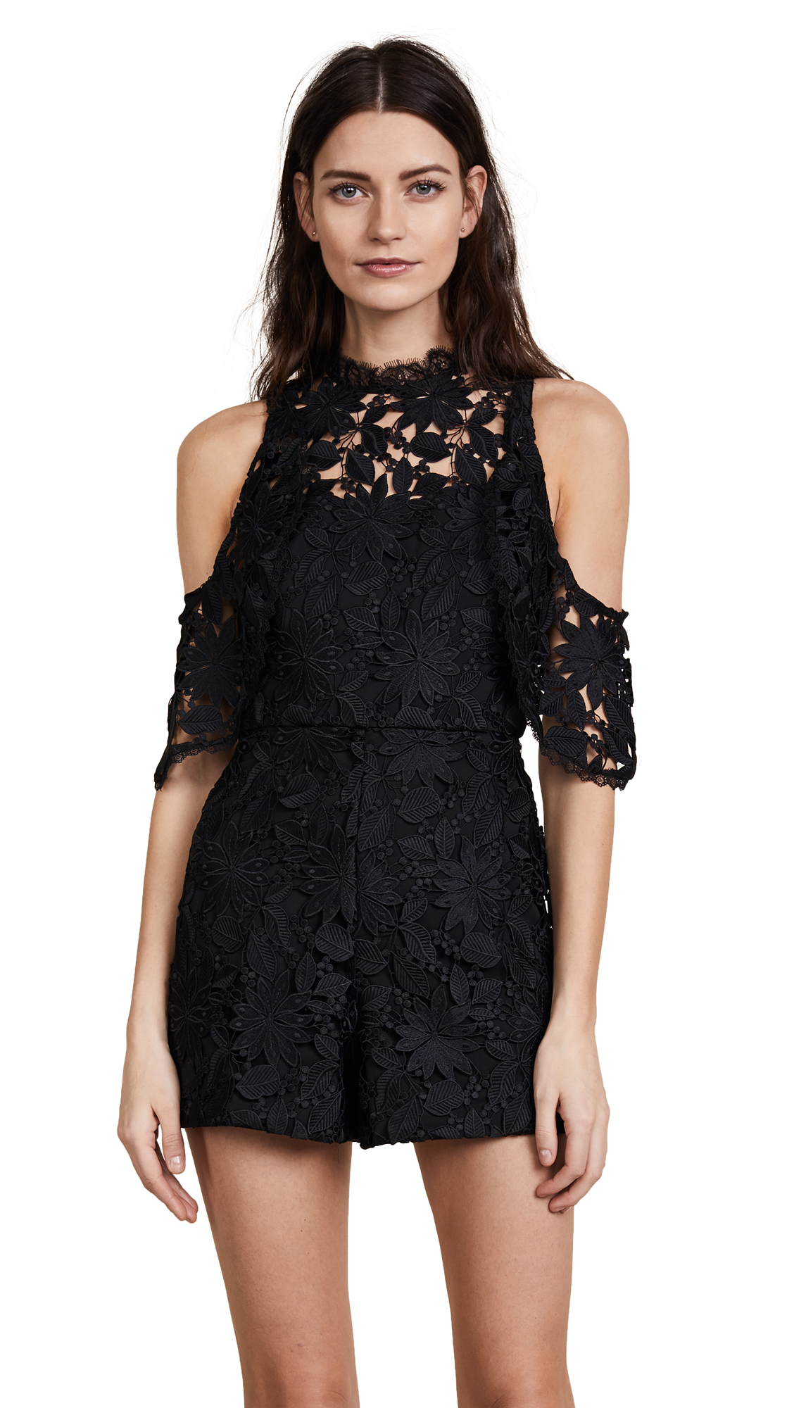 alice + olivia June Cold Shoulder Ruffle Romper