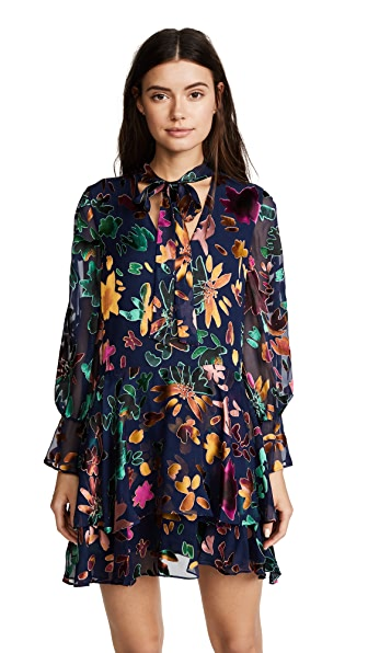 fe89acb453 Alice And Olivia Moore V-Neck Burnout Velvet Tunic Dress With Layered Skirt  In Blue
