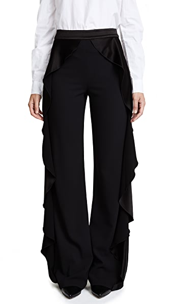 alice + olivia Wallace Side Ruffle Pants In Black