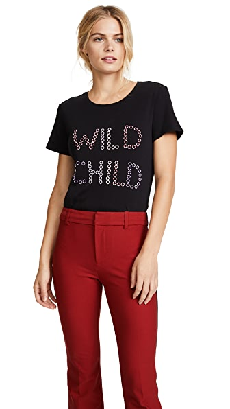alice + olivia Rylen Embroidered Tee In Black/Multi