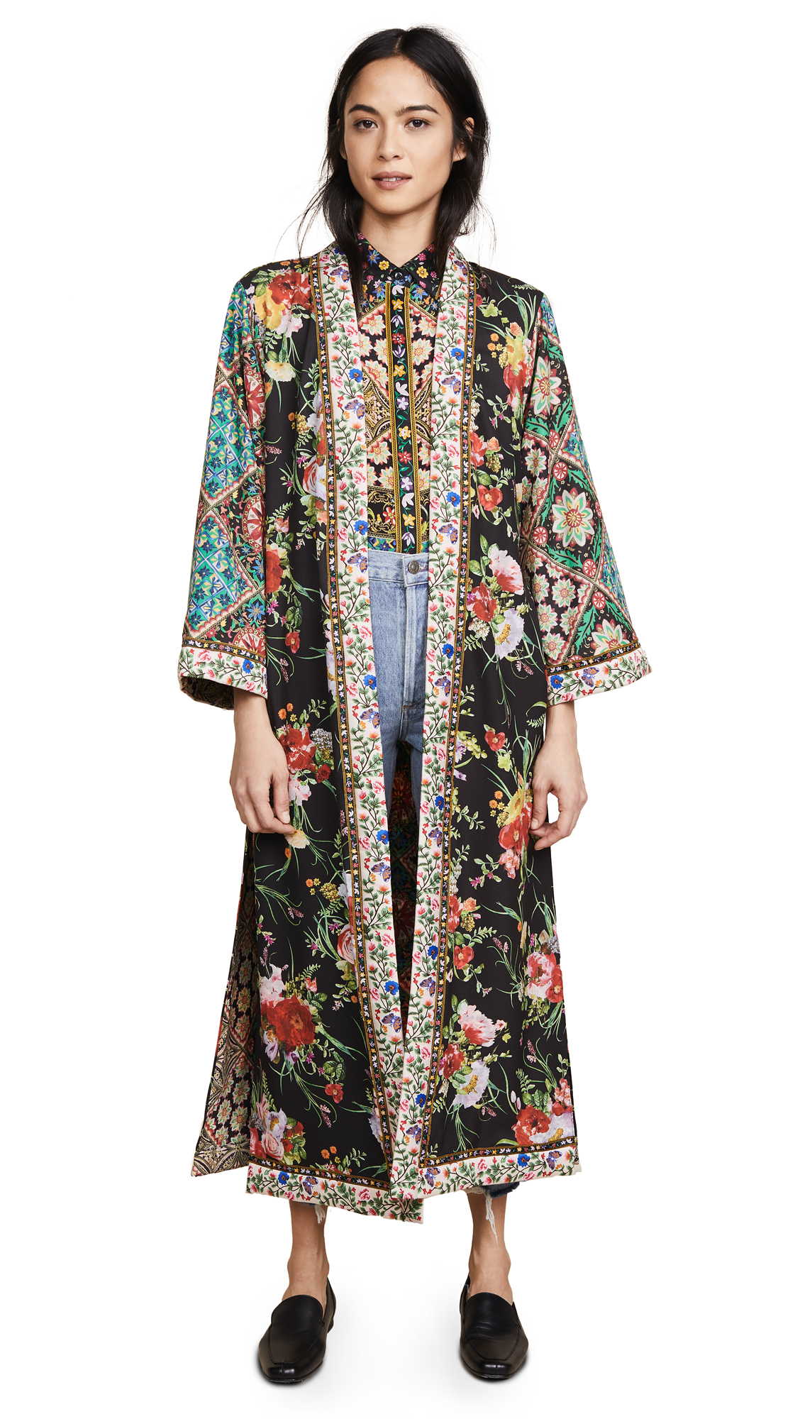 alice + olivia Lynn Long Kimono with Side Slits - Blooming Bouquet/Renzo Tile