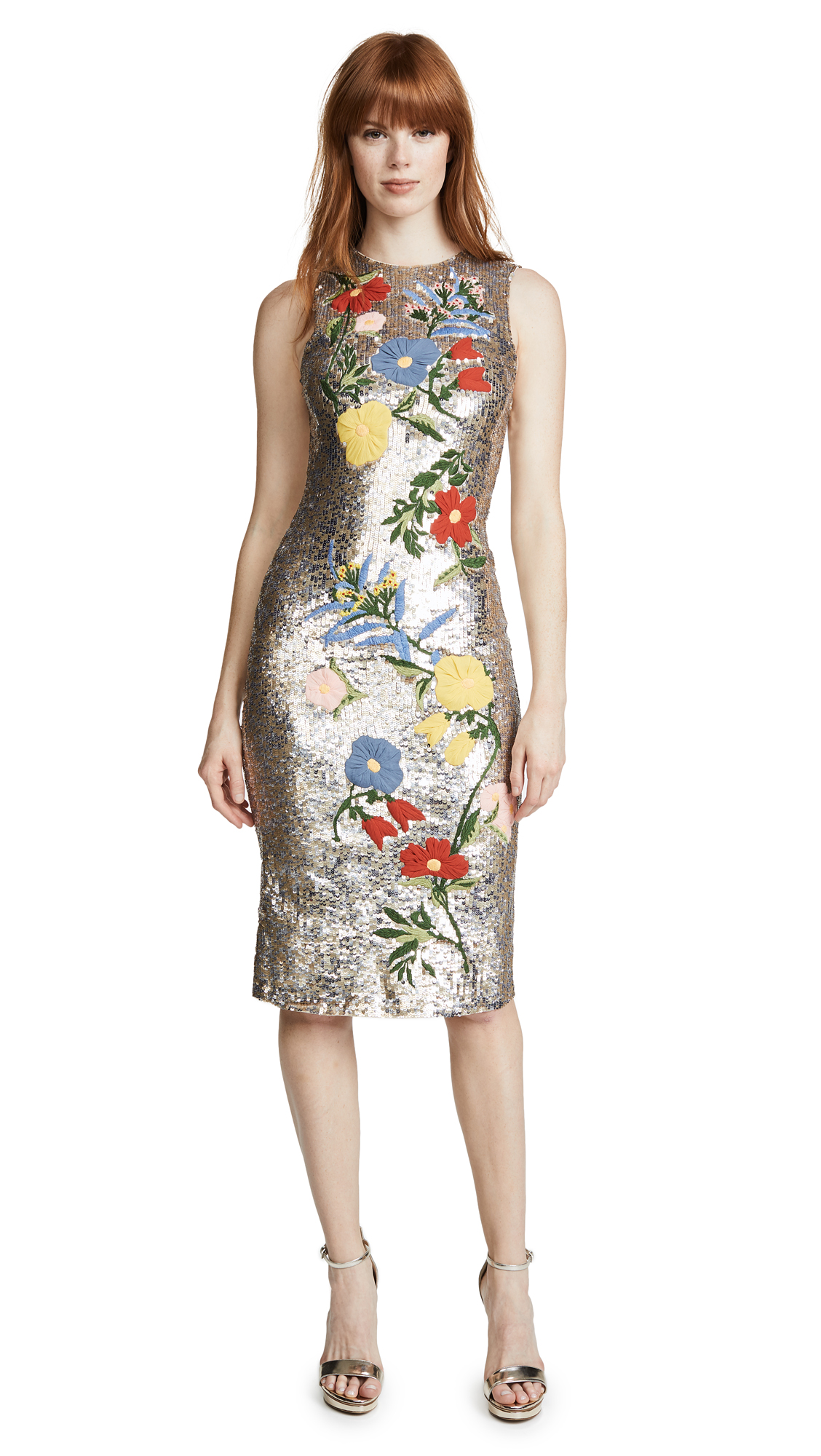 alice + olivia Nat Embroidered Dress - Antique Silver/Multi