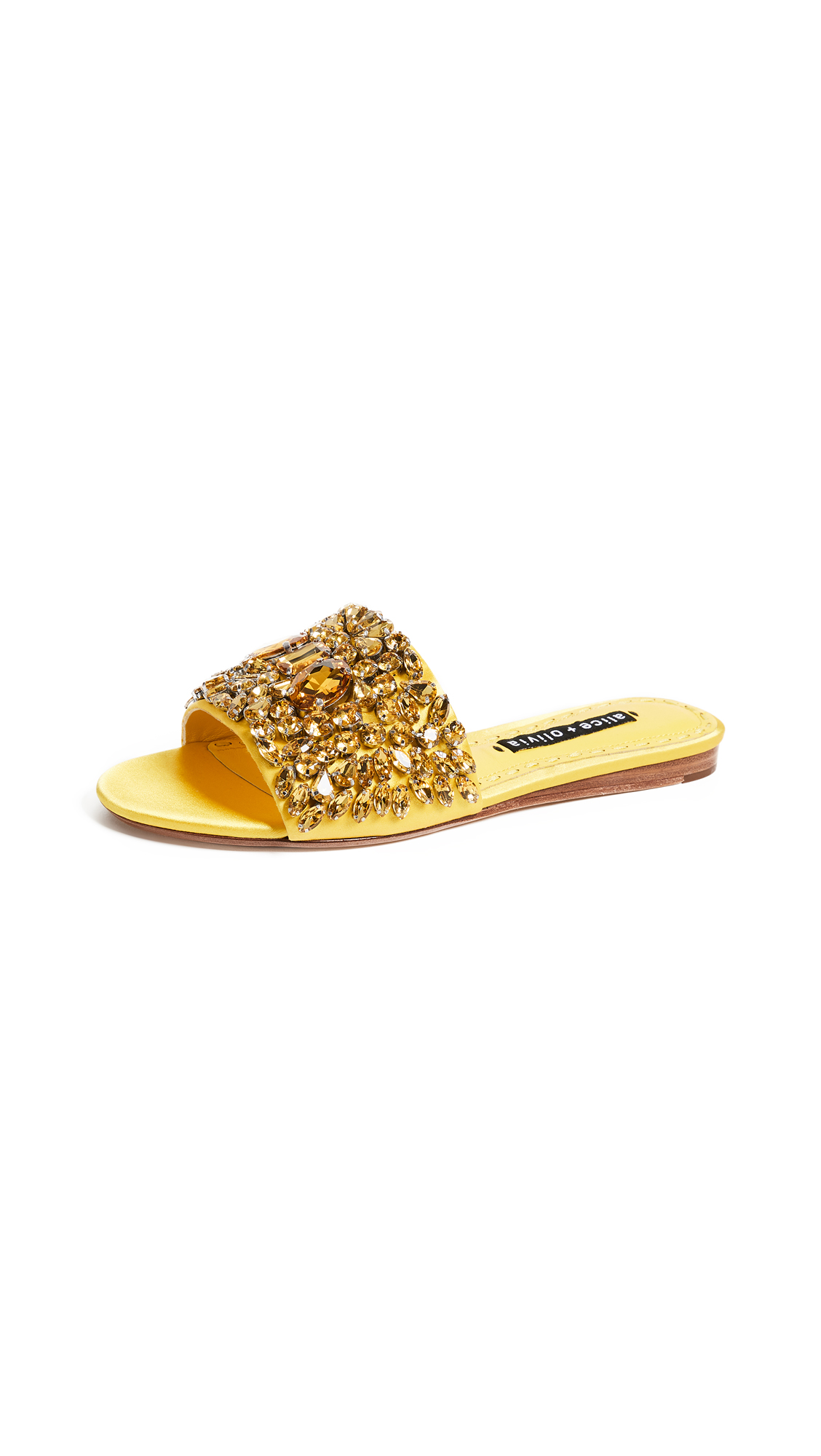 alice + olivia Abbey Crystal Slides - Dandelion