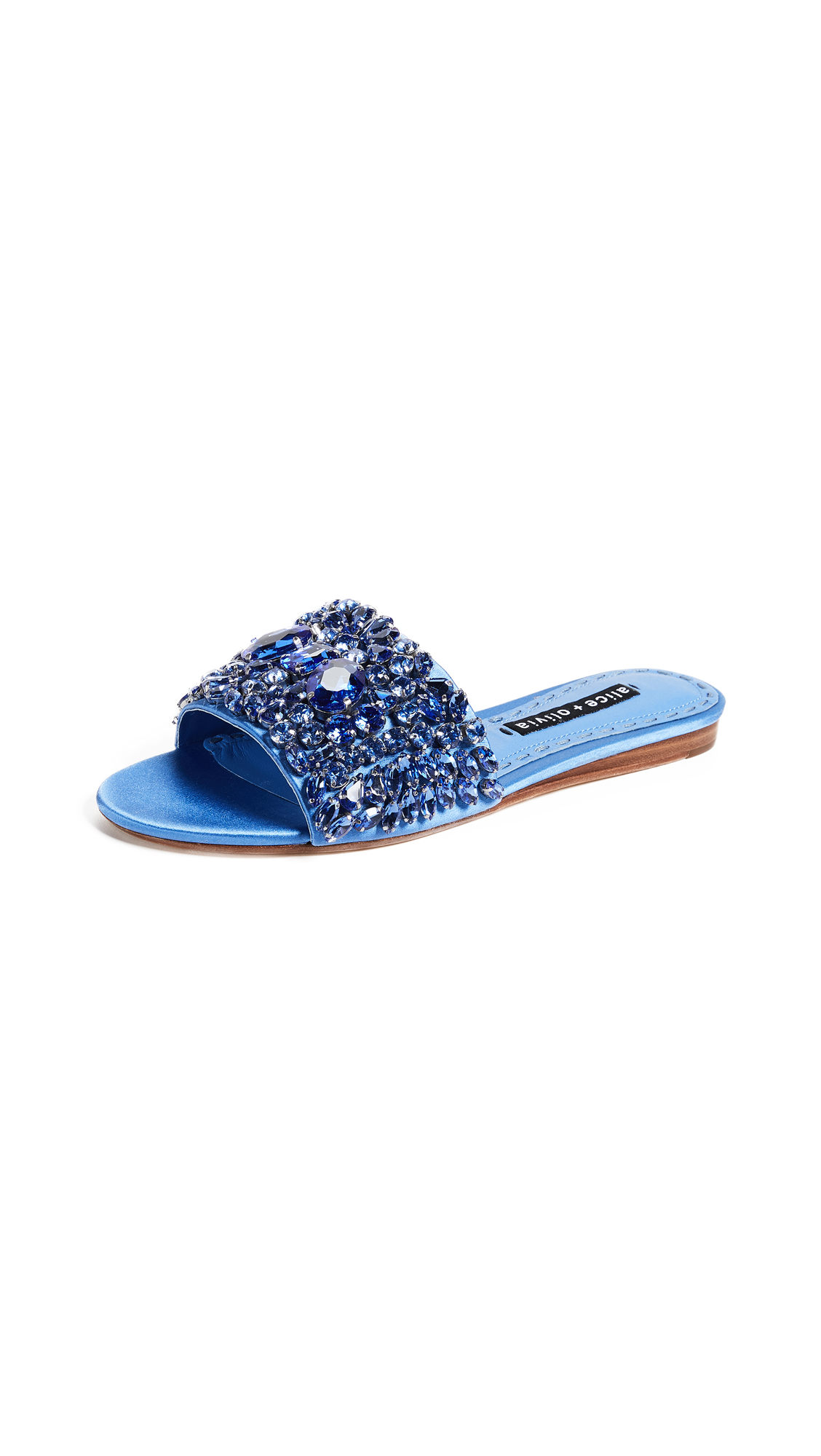alice + olivia Abbey Crystal Slides - Cerulean