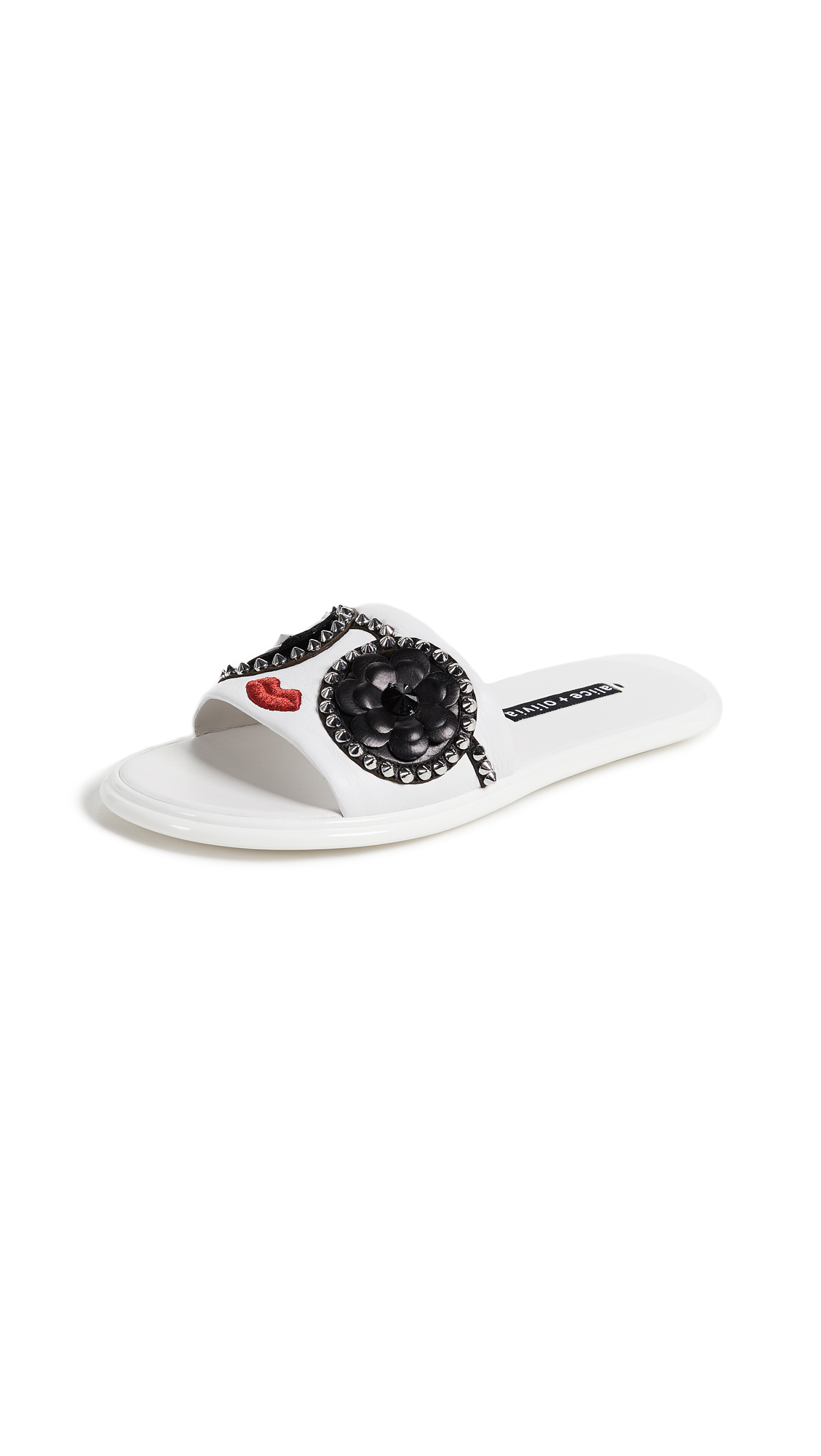 alice + olivia Tasha Stace Slides - White/Black/Red