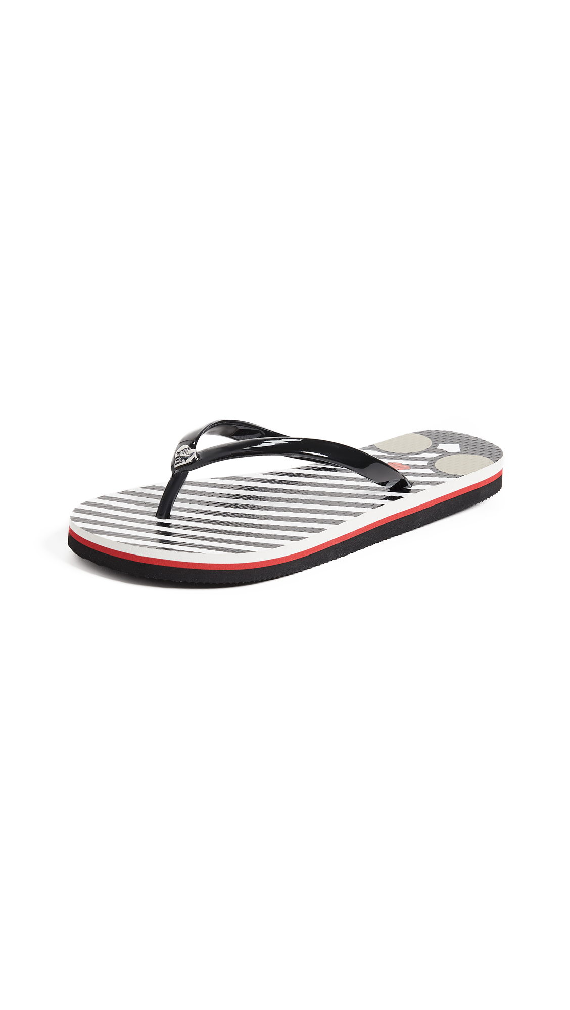 alice + olivia Eva Striped Flip Flops - Black