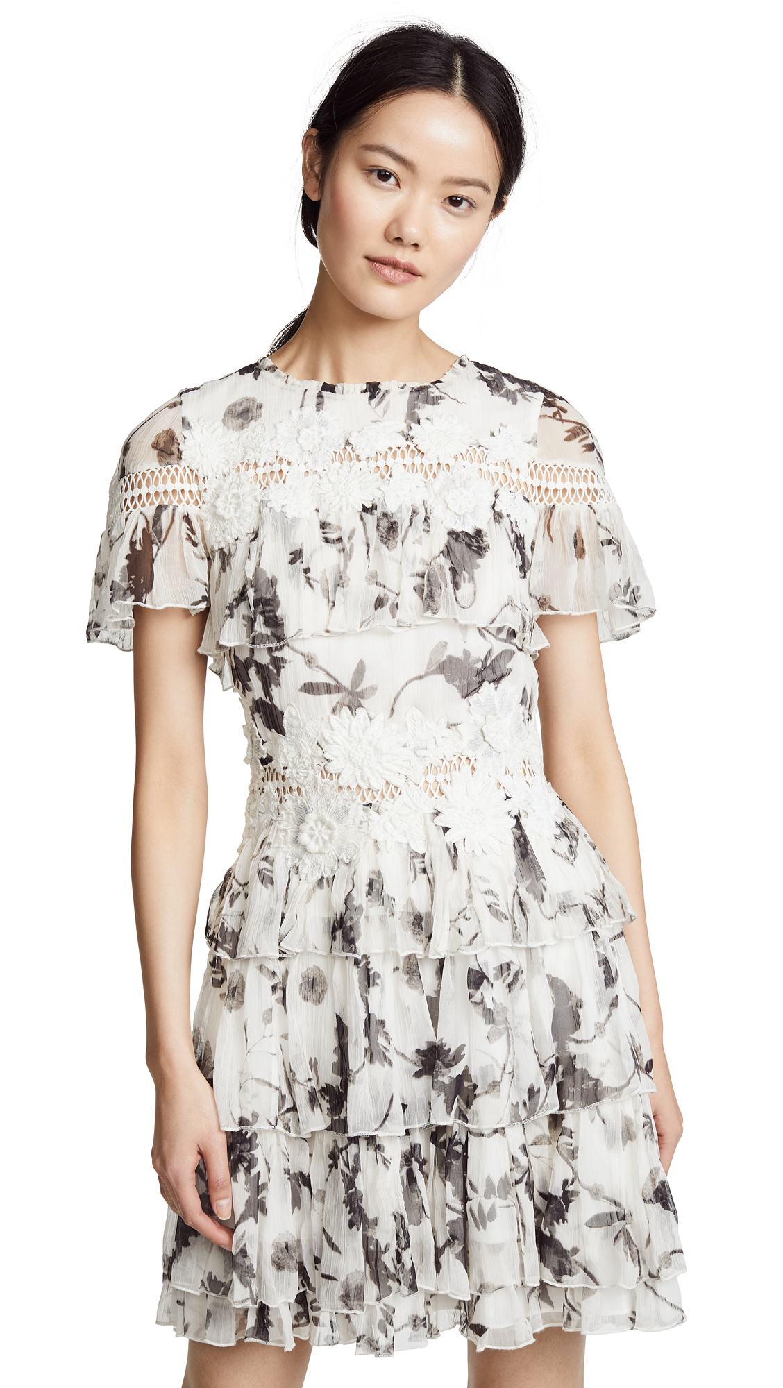 alice + olivia Paola Ruffle Dress In Floral Crown