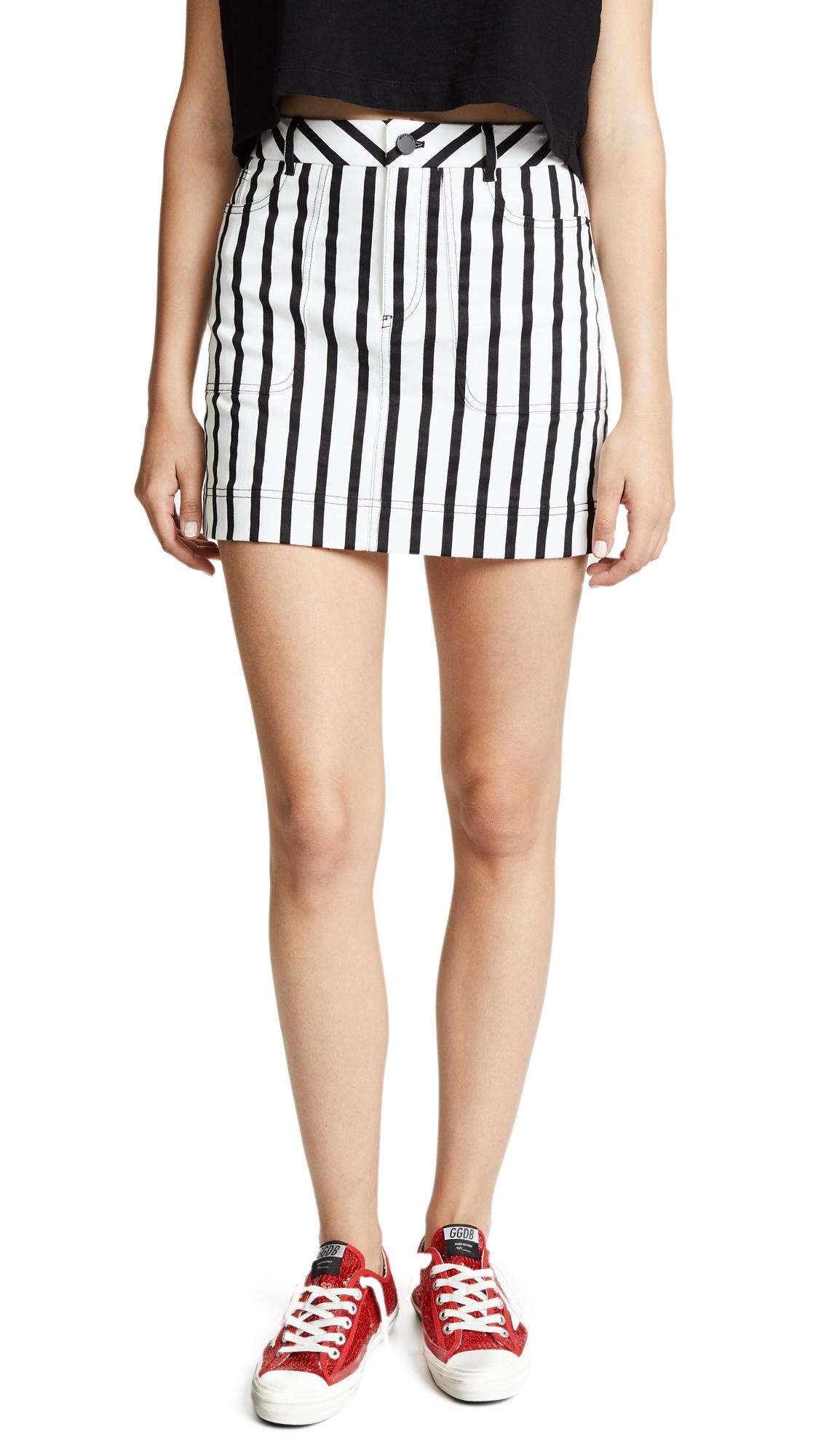 alice + olivia Gail Miniskirt In Monochrome Stripe