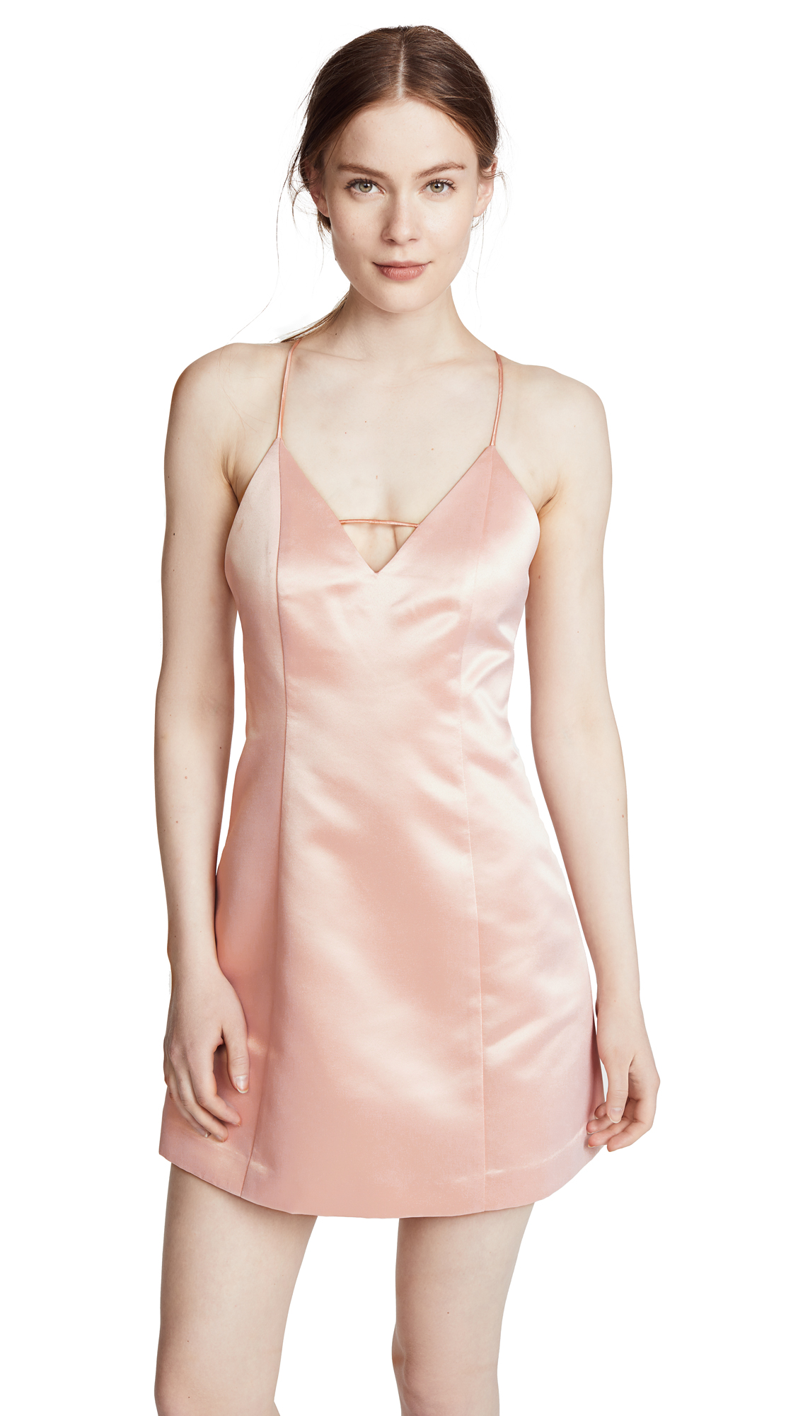 alice + olivia Pearl Deep V Lantern Dress In Blush