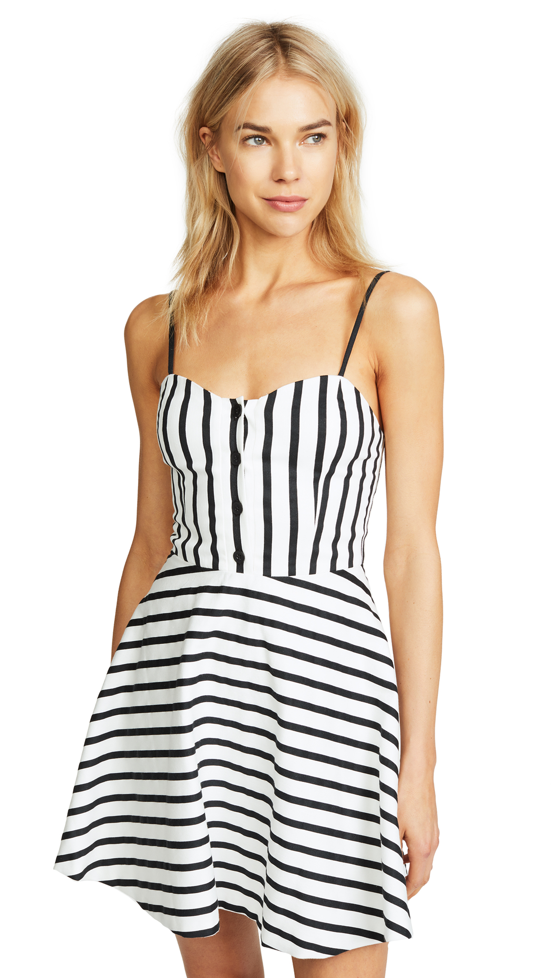 alice + olivia Nella Button Front Dress In Monochrome Stripe