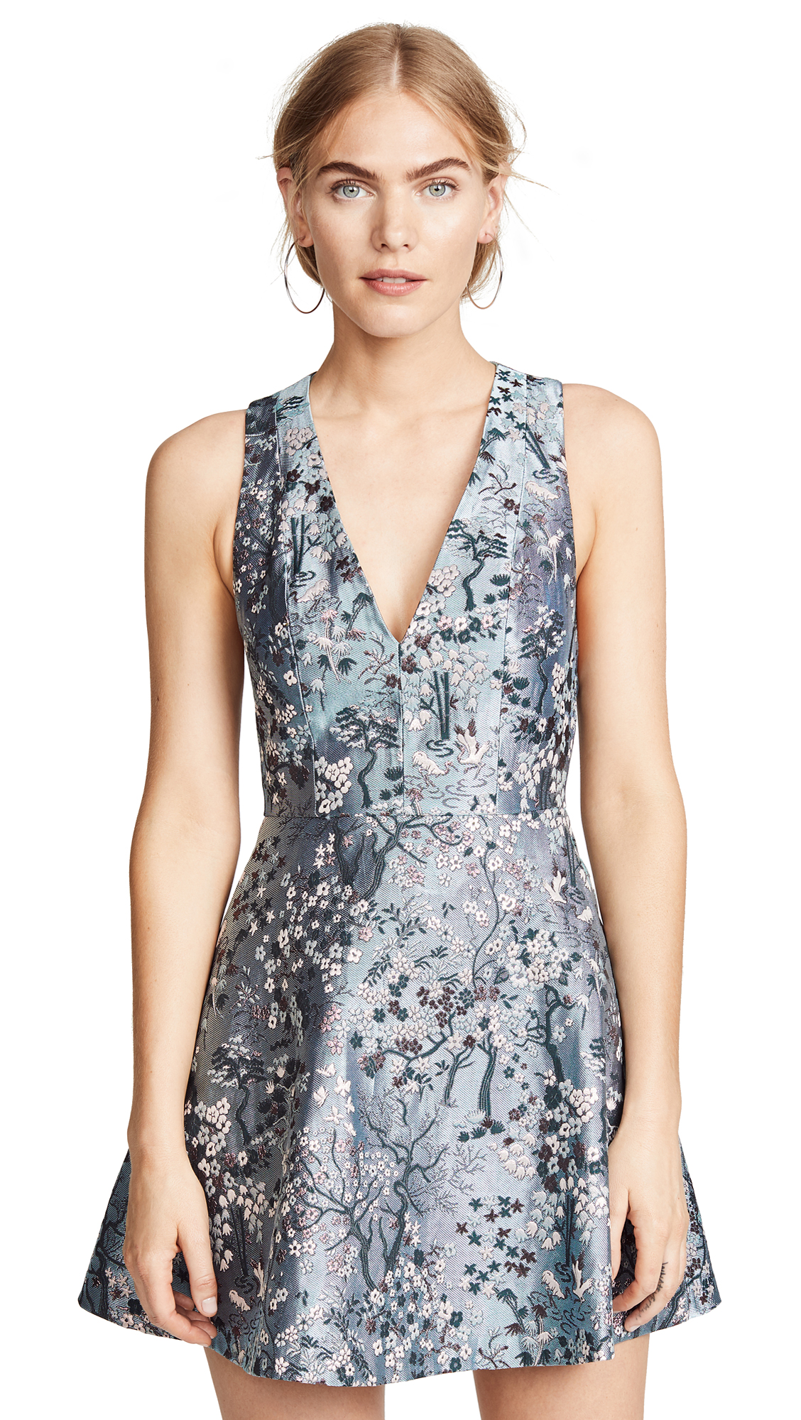 Alice+Olivia Tennie V-Neck Dress - Blue, Blue Fog/Multi
