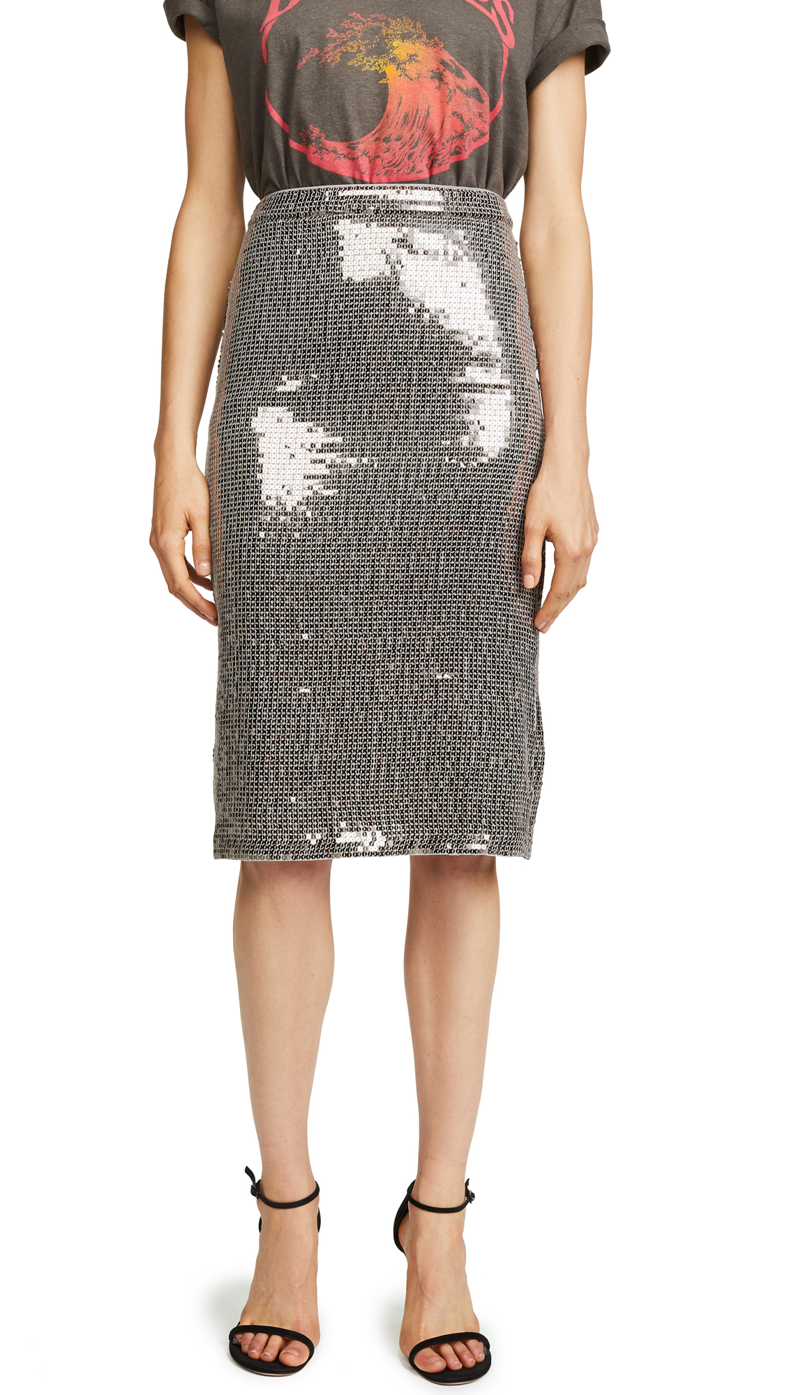 alice + olivia Rue Skirt In Antique Silver