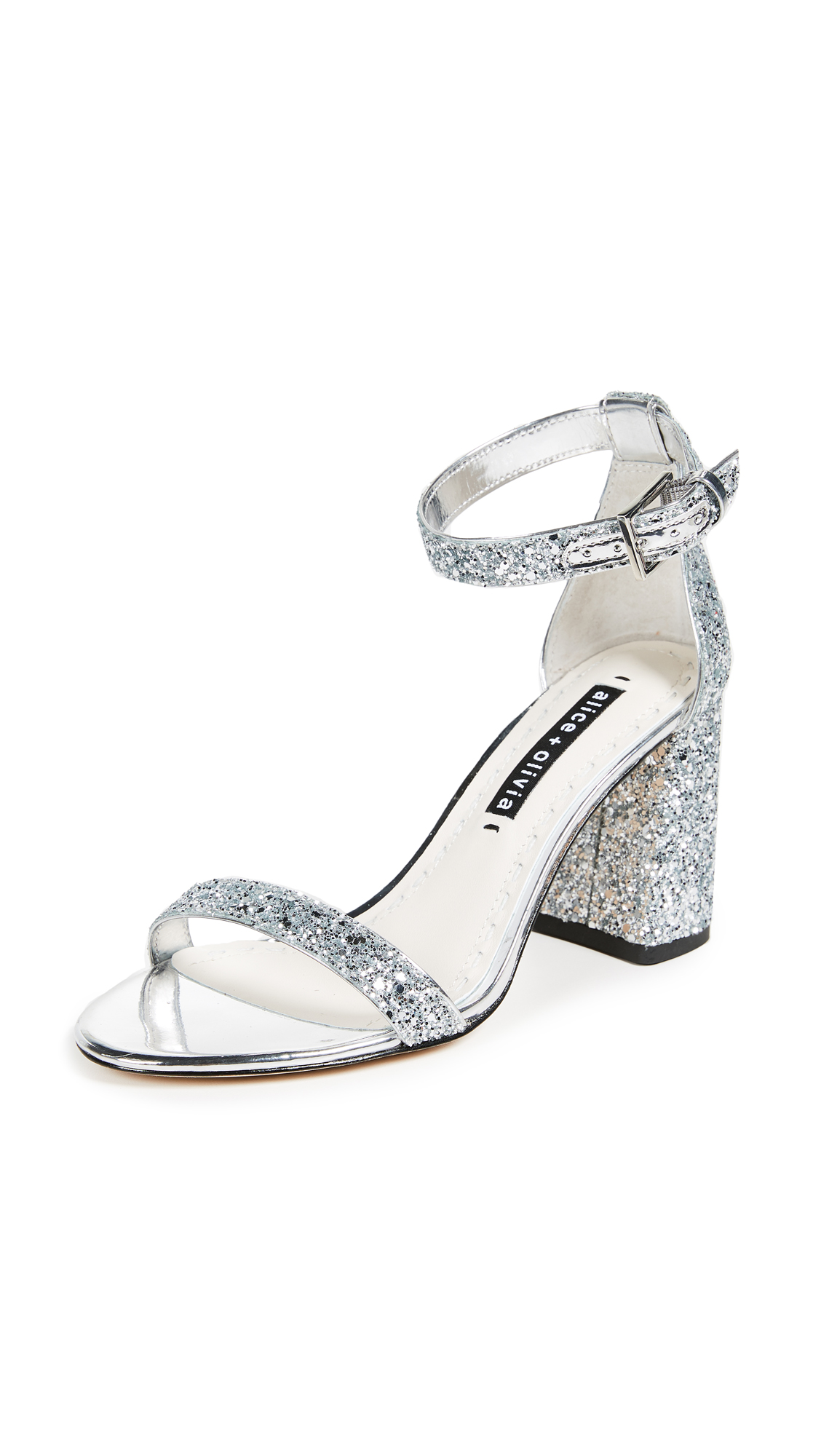 alice + olivia Lillian Block Heel Sandals - Silver