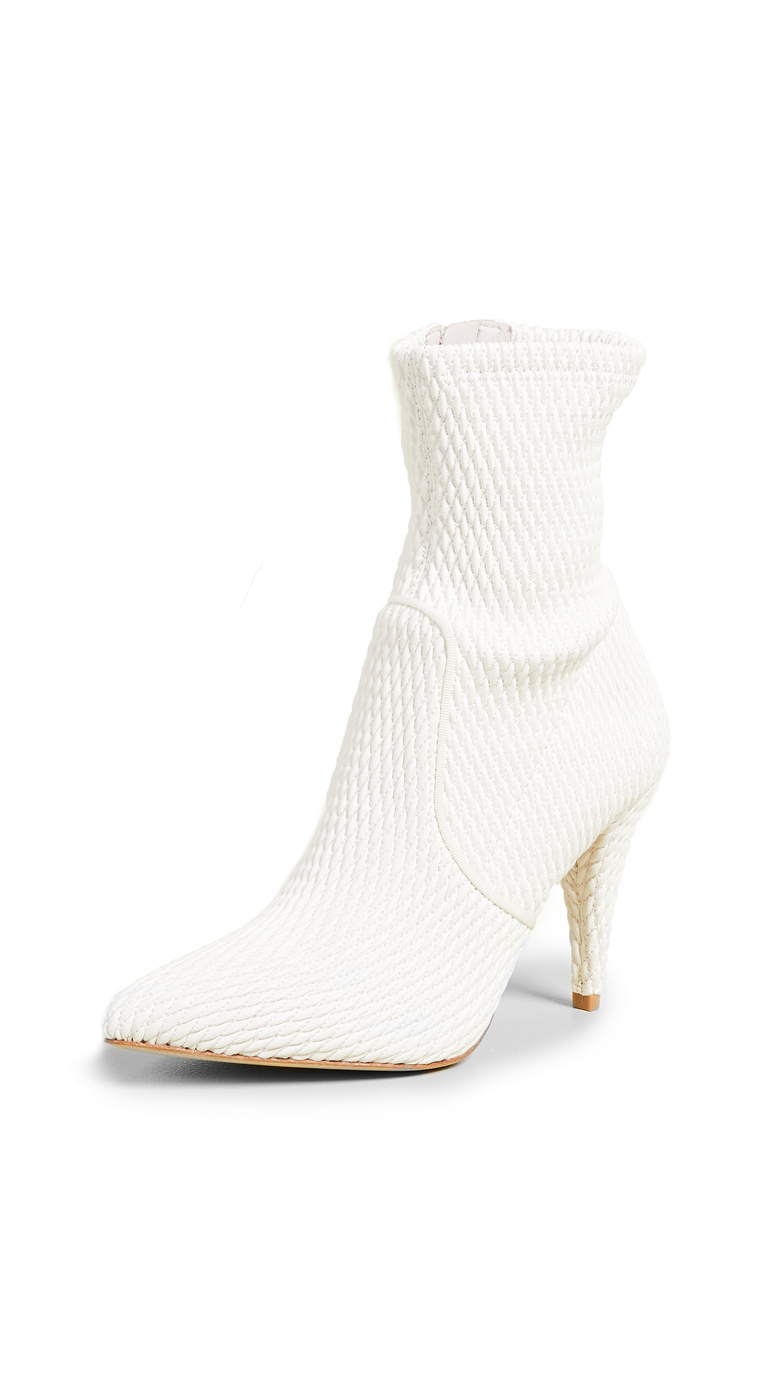 alice + olivia Hedde Stretch Pleather Booties - White