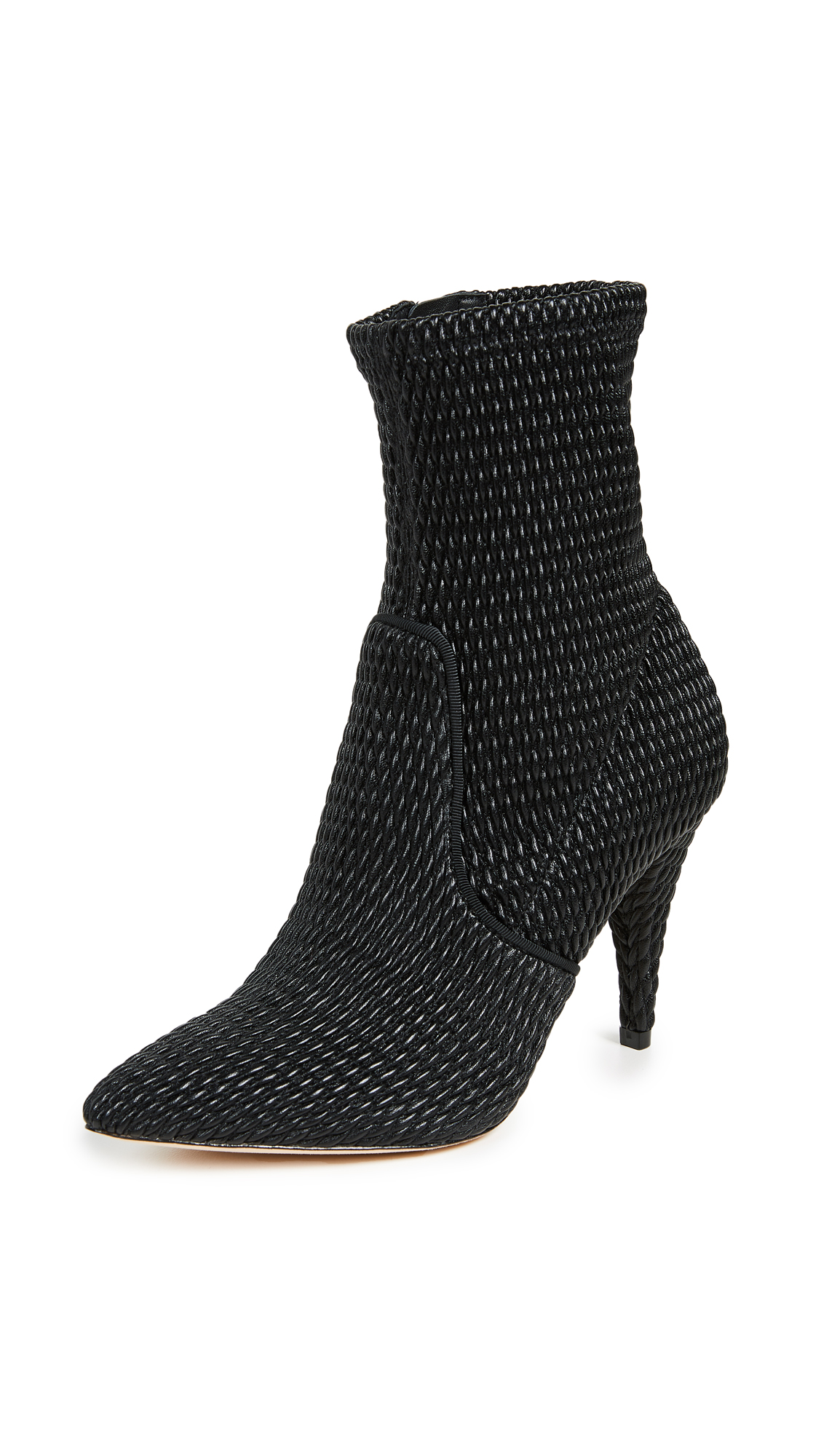 alice + olivia Hedde Stretch Pleather Booties - Black