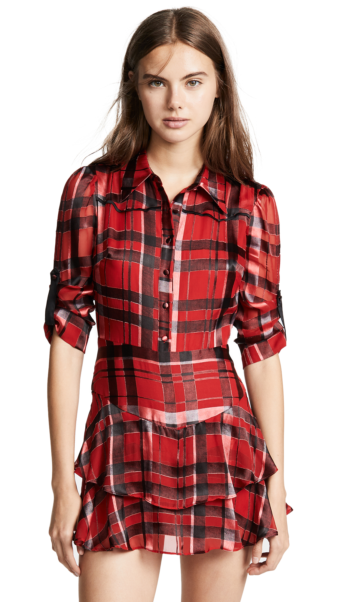 alice + olivia Hazeline Tiered Shirtdress In Windowpane Plaid/Ruby